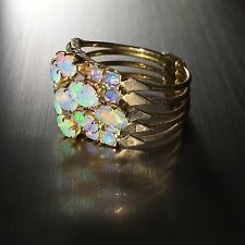 Vintage 14k Yellow gold natural Australian Opal 5pc stackable flexible ring