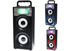 QFX BT-139 Portable/Rechargeable Speaker +Bluetooth +USB/SD/FM +LED Disco Light