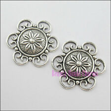 8Pcs Tibetan Silver 6 Holes Round Flower Charm Pendant Connector 30mm