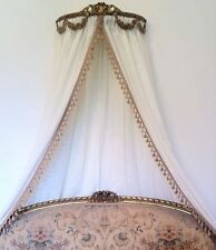 Antique Ornate Ciel De Lit Gold Bed French / Italian Crown Rococo Double Canopy