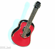 Red Acoustic Guitar Enamel Badge Country Folk Soft Rock Music Band Lapel Pin