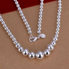 New Women 925 Sterling Silver Plated Stylish Beads Chain Necklace Jewelry Choker