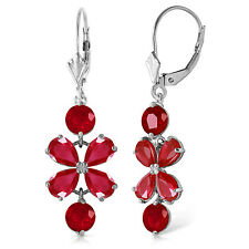 5.32 CTW 14K Solid White Gold Chandelier Earrings Natural Ruby