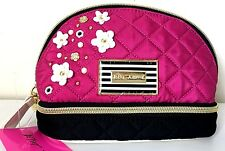Betsey Johnson Cosmetic Case Make up Pouch Appliqués Dome Bag Pink Flowers NWT