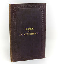 Lewis Carroll  'Index to In Memoriam'. Edward Moxon & Co., London, 1862. 1st Ed