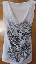 GUESS white w/ gray rose print sleeveless pullover top w/ drape neck, Size XS