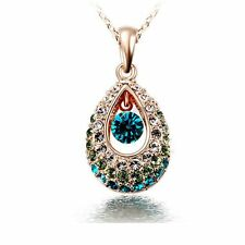 Chic Lady Indian Princess Hollow Crystal Teardrop Pendant Chain Necklace Jewelry