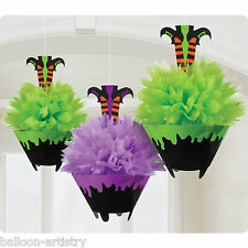 3 Spooky Halloween Green & Purple Fluffy Paper Witch Hanging Party Decorations