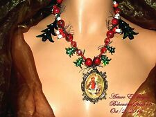 ARTURO E.REYNA LITTLE RED RIDING HOOD CAMEO LAMPWORK GLASS BEADS CHARMS NECKLACE