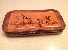 Vintage Men's Shaving Grooming Kit Unused Gillettte Leather Geese Design Travel