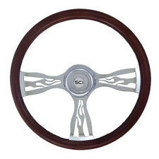 "Steering Wheel Blaze 3 Spoke 18"" Wood Rim for Peterbilt Kenworth Freightliner..."