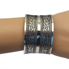 Fashion Alloy Bohemian Tibetan Tribal Vintage Carving Flowers Wide Cuff Bangle