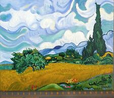 "Vincent van Gogh Post-Impressionist Oil Painting ""WHEAT FIELD with CYPRESSES"""
