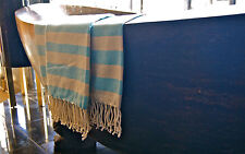 Large Hammam Bath Towel Turkish Peshtemal Sarong Beach Spa Gym Cotton Turquoise
