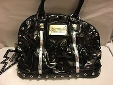Betsey Johnson Black Clear Plastic Leopard Print purse Bag Vintage Rare Silver.