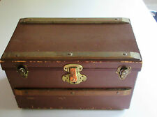 "Vintage 1930's : 15"" Doll Trunk or Toy Chest Hard Cardboard & Wood Paper Lined"