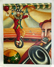 Barrios Original Oil on Canvas Circus Jester Juggler Trumpet player Unicycle art