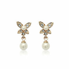Gold and pearl butterfly earrings, Super cute