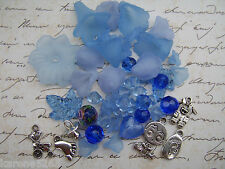 IT'S A BABY BOY CHARMS, FLOWERS AND GLASS BEAD MIX X 50 PIECES. BLUE BEAD MIX.