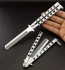 "9"" Practice BUTTERFLY Chrome Metal Trainer BALISONG Comb Folding Knife - JT207"