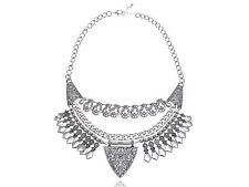 Lady Indian Inspired Intricate Design Silver Tone Linked Chain Necklace