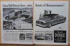 1951 two page magazine ad for Dodge, Irish Horan Hell-Drivers, wins Honeymooners