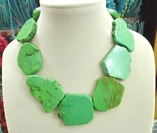 Charm Chunky Apple Green Turquoise Slice Choker Necklace Handmade Woman Gift