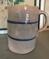 Stoneware Milk Pitcher Pottery Blue Stripe Band Hand Turned Hand Painted