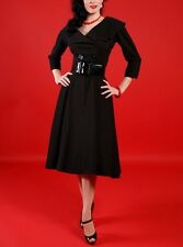 NEW Tatyana M Pin-Up Rockabilly VLV Secretary Belted Swing Dress Black Stretch