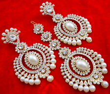 WHITE PEARL CZ GOLD TONE INDIAN TRADITIONAL EARRINGS TIKKA SET PARTY JEWELRY