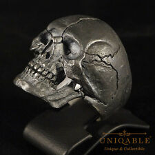 Handcrafted Ring Size 9 Biker Skull 3 Sterling Silver Harley Freemasonry Jewelry