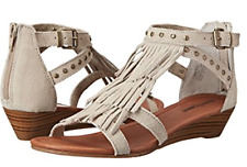 Minnetonka Womens Monaco Wedge Fringe leather Sandal Taupe Size 7  US