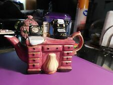 Teapot Small Pink Desk Rotary Phone Manual Typewriter Hand Painted Decorative