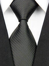 AS0031 Classic Black Stripe Elegant Woven 100%Silk Necktie Man's Tie