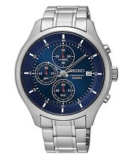 New Seiko SKS549 Chronograph Stainless Steel Blue Dial Men's Watch