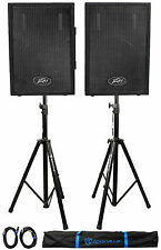 "(2) Peavey PVI10 10"" 2-Way PA Speakers + (2) Stands + (2) Cables+Bag"