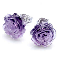 A Pair Amethyst 925 Sterling Silver Lovely Rose Carved Gemstone Ear Stud Earring