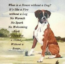 """BOXER (uncropped) DOG w Poem on One 16"""" Fabric Panel tosew.Pic is 8"""" x 9"""". SALE!"""
