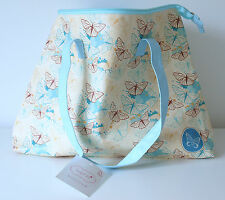 Tote Bag in Cream Blue Liner Zipper Pocket & Blue Handle Butterfly Design