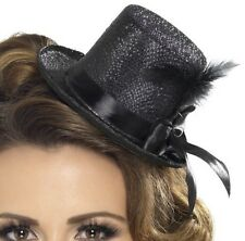 Ladies Smiffys Black Mini Top Hat with Ribbon & Feather Hen Party New