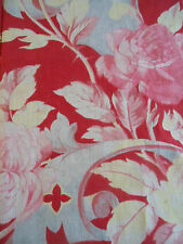 Antique French Faded Roses Scrolls Cotton Fabric~Pink Red Yellow Blue Gray~ #1