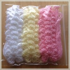 30 X SMALL CROCHET FLOWERS WHITE/PINK/YELLOW COLOUR  SIZE 3 CM