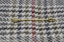 VTG Gents Pinhall Collar Bar Pin Gold Tone Barbell Type Hexagon Cube End Eyelet