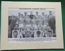 MANCHESTER UNITED SIGNED MOUNTED SQUAD PICTURE x 15 GENUINE PLAYERS 1963-64 RARE