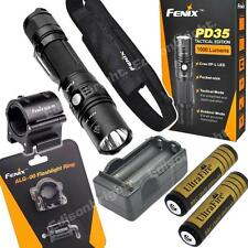 Fenix PD35 TAC 1000 Lumen LED tactical Flashlight w/2X Batt/Charger ALG-00 mount