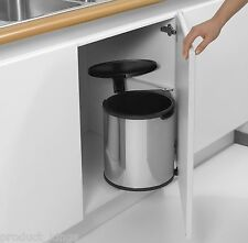 Brabantia Automatic Lid Concealed 15L Litre Kitchen Built in Bin Brilliant Steel