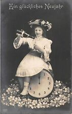 BG20516 girl with champagne clock flower new year neujahr   germany