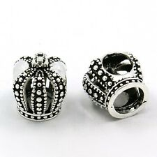 Imperial/ Royal CROWN- Queen-King- Solid 925 sterling silver European charm bead