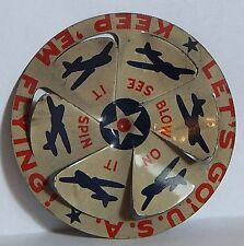 """1940 CRACKER JACK SPINNER """"KEEP 'EM FLYING!"""" """"BLOW ON IT SEE IT SPIN"""" TOY PRIZE"""