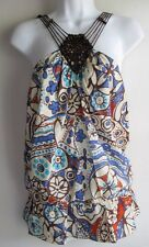 BCBG GIRLS NWT $78 BEADED BOHO FLORAL PEASANT PEPLUM TOP SZ L